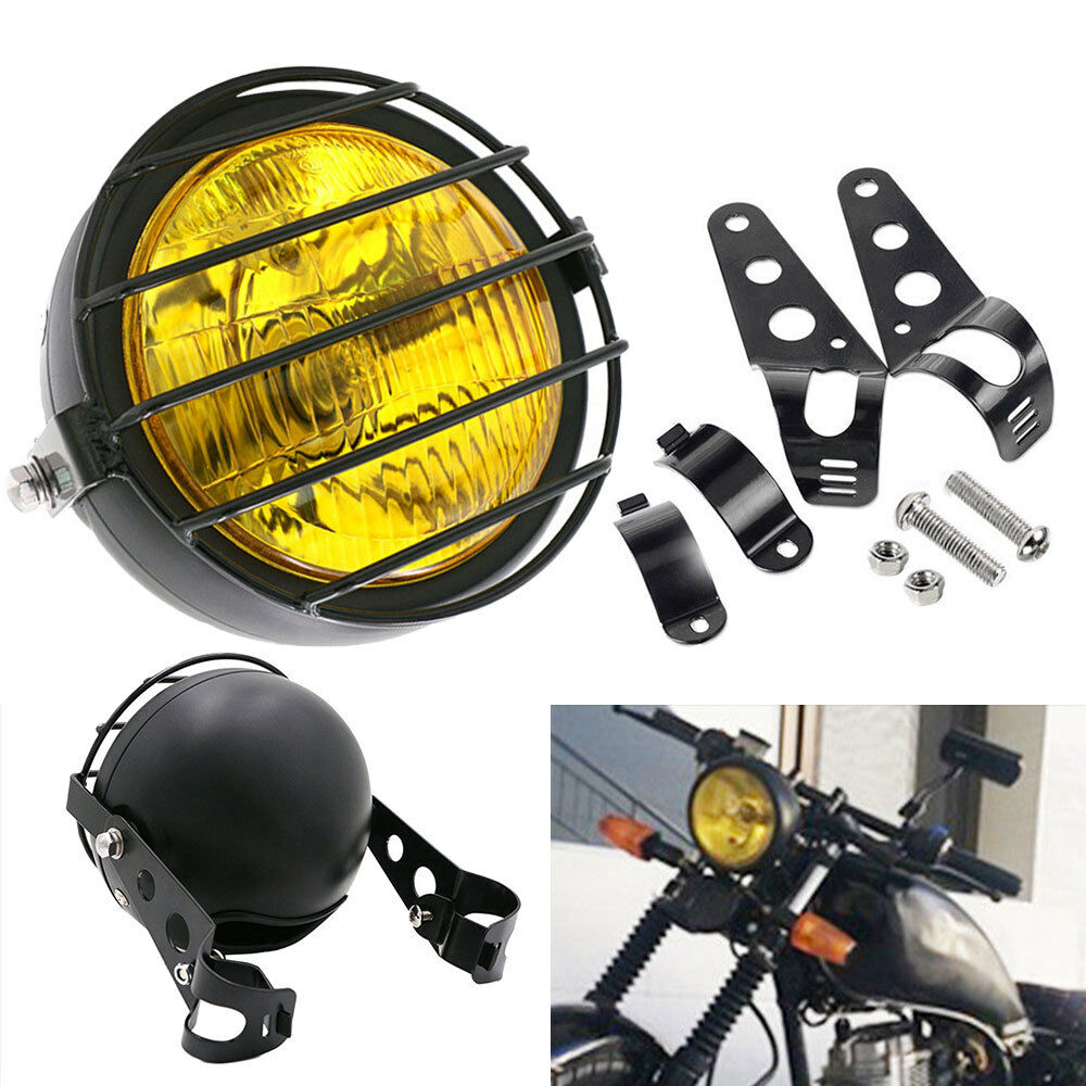 6.5 inch Retro Motorcycle Headlight Grill Side Mount Cover with Bracket