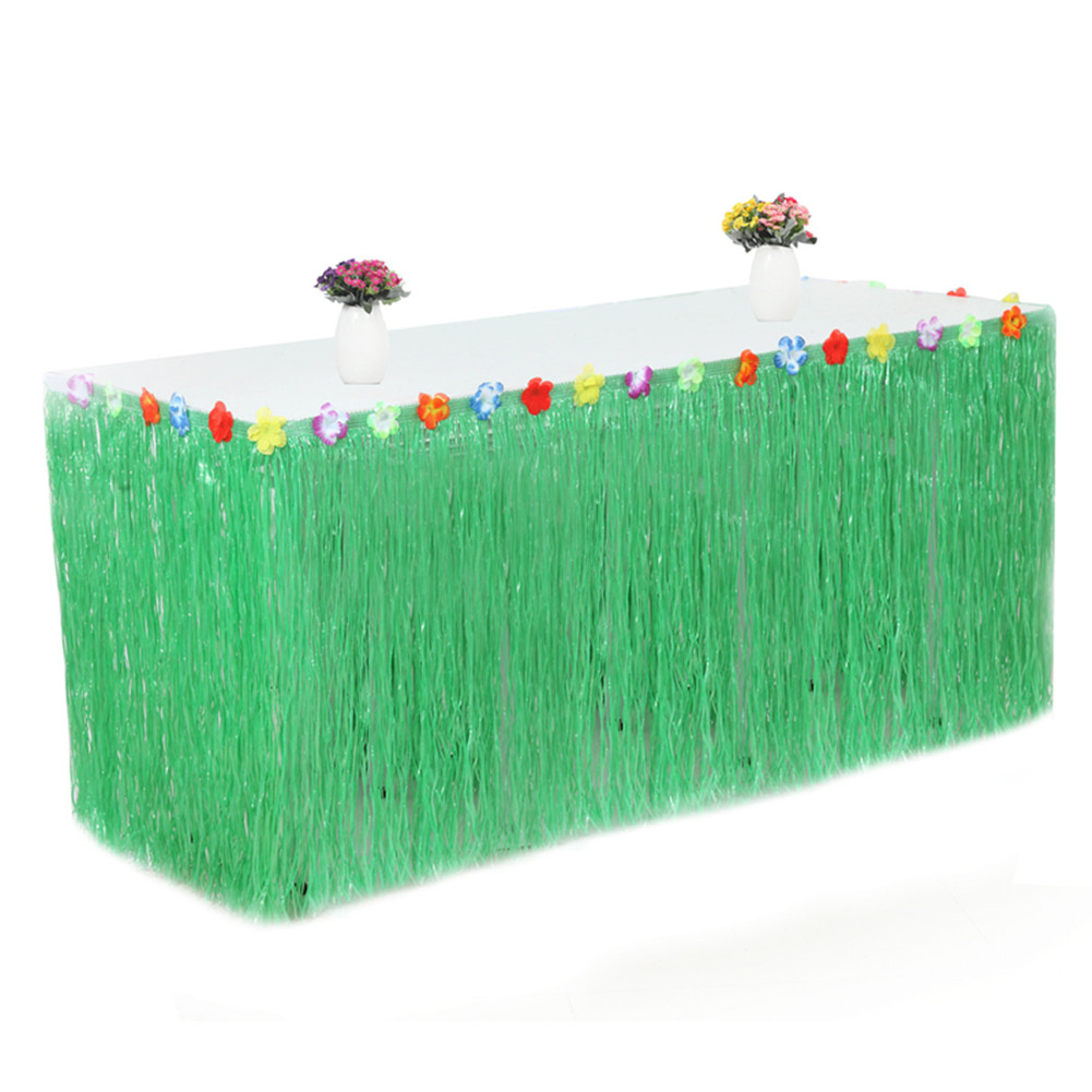 PP Artificial Grass Table Skirt Flower Inlaid Hawaiian Tropical Luau Party Tableware Decoration Army green_None