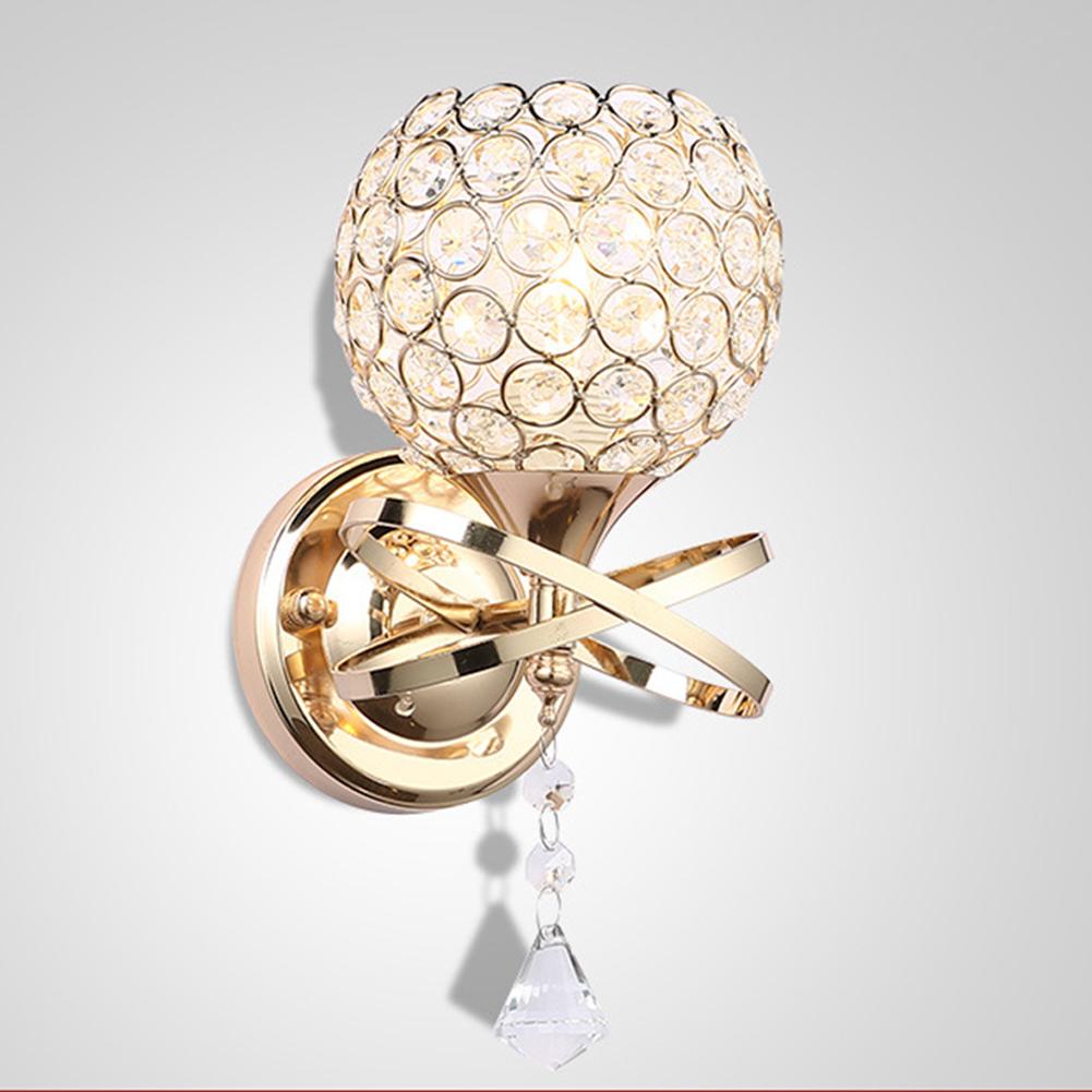 E27 LED Crystal Wall Lamp Modern Bedroom Hallway Sconce Light Indoor Lighting Golden