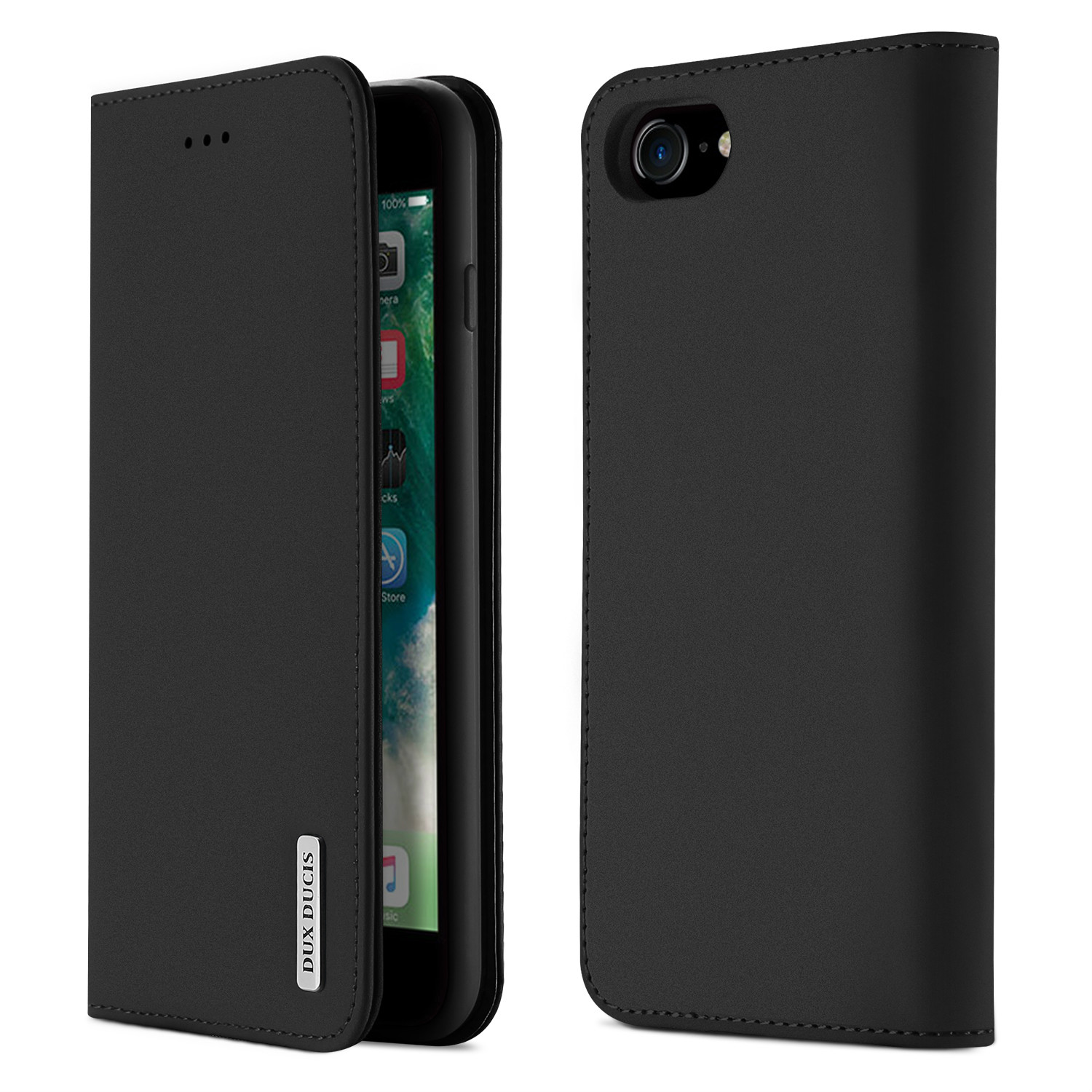 For iPhone 9 Mobile Phone Cover Magnetic Leather Protective Case with Card Slot Bracket black