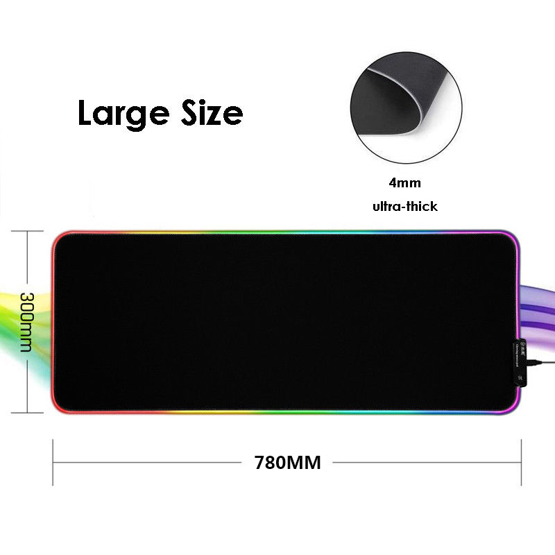 Large RGB Colorful LED Lighting Gaming Mouse Pad Mat for PC Laptop  780*300*4mm