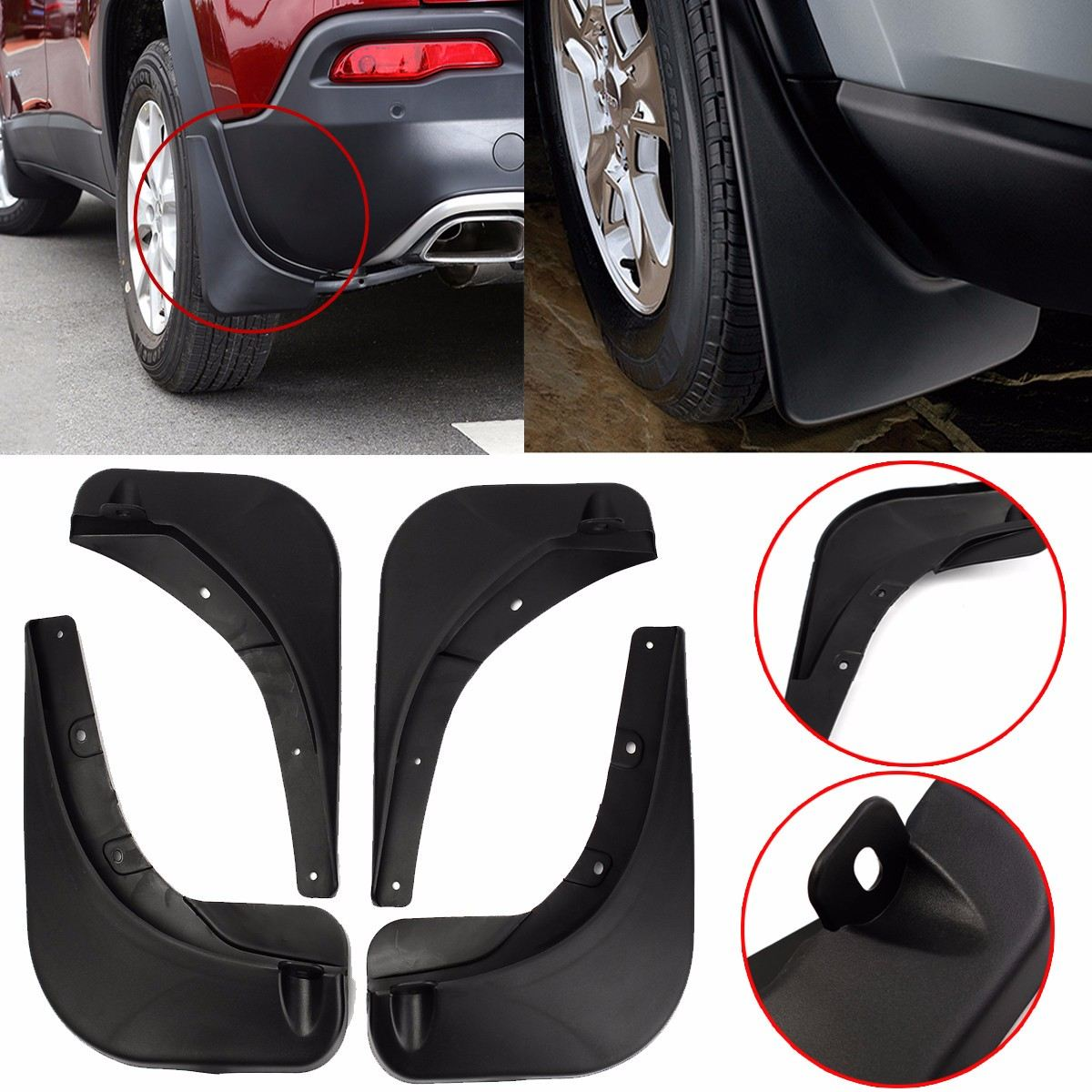 For Jeep Renegade 15-18 Stylish Car Front Rear Mud Flaps Mudguard Guards