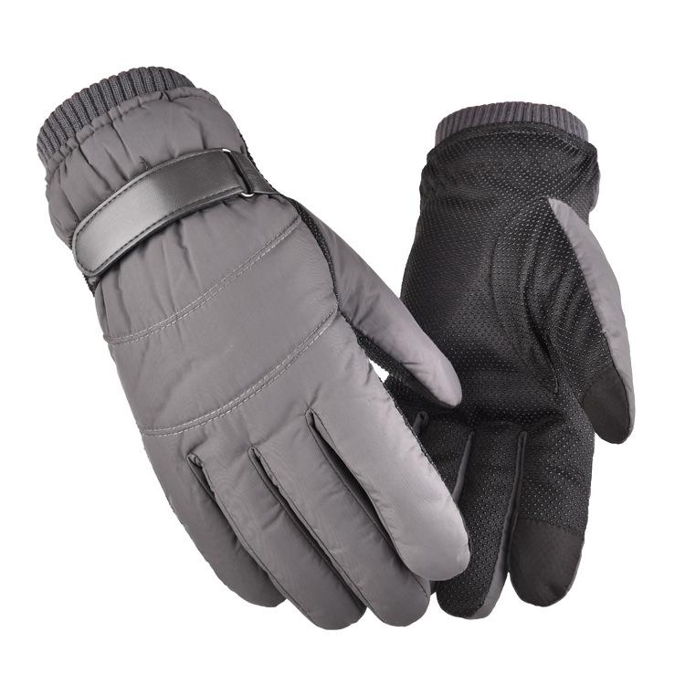 Men Women Warm Ski Gloves Winter Thermal Snowboard Gloves Waterproof Anti-Slip Touch Screen Gloves gray_One size