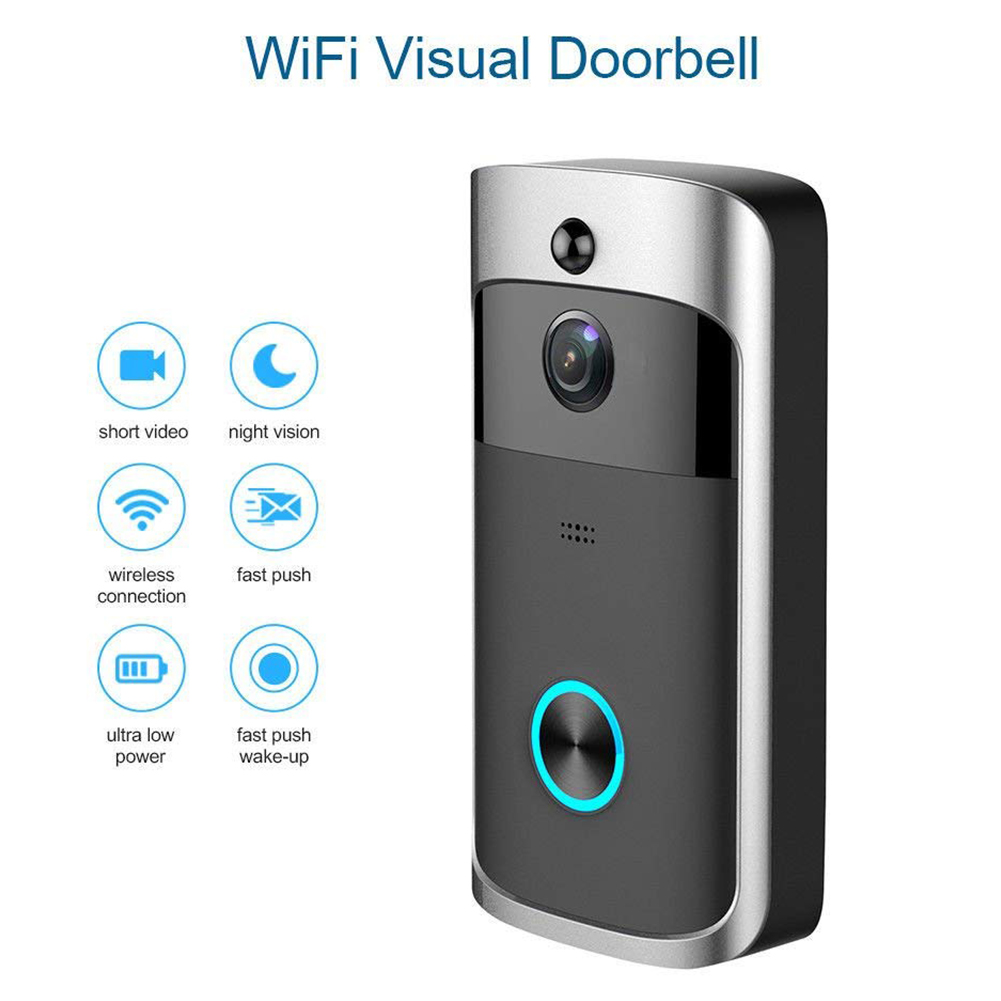 Silver Black Mini Smart Video  WiFi DoorBell