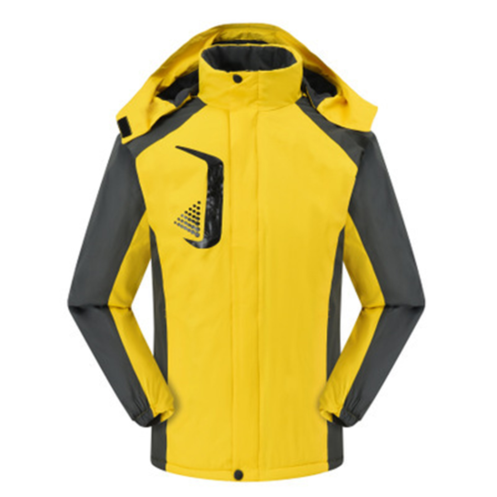 Men's and Women's Jackets Winter Velvet Thickening Windproof and Rainproof Mountaineering Clothes yellow_L