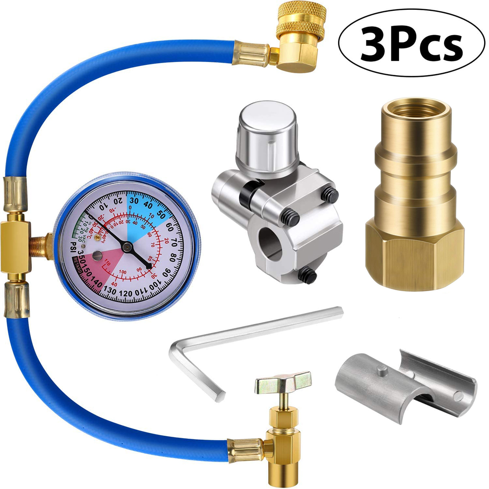 3Pcs/Set R134a Inflation Hose with Gauge BPV31 Valve R12 to R134a Conversion Kit