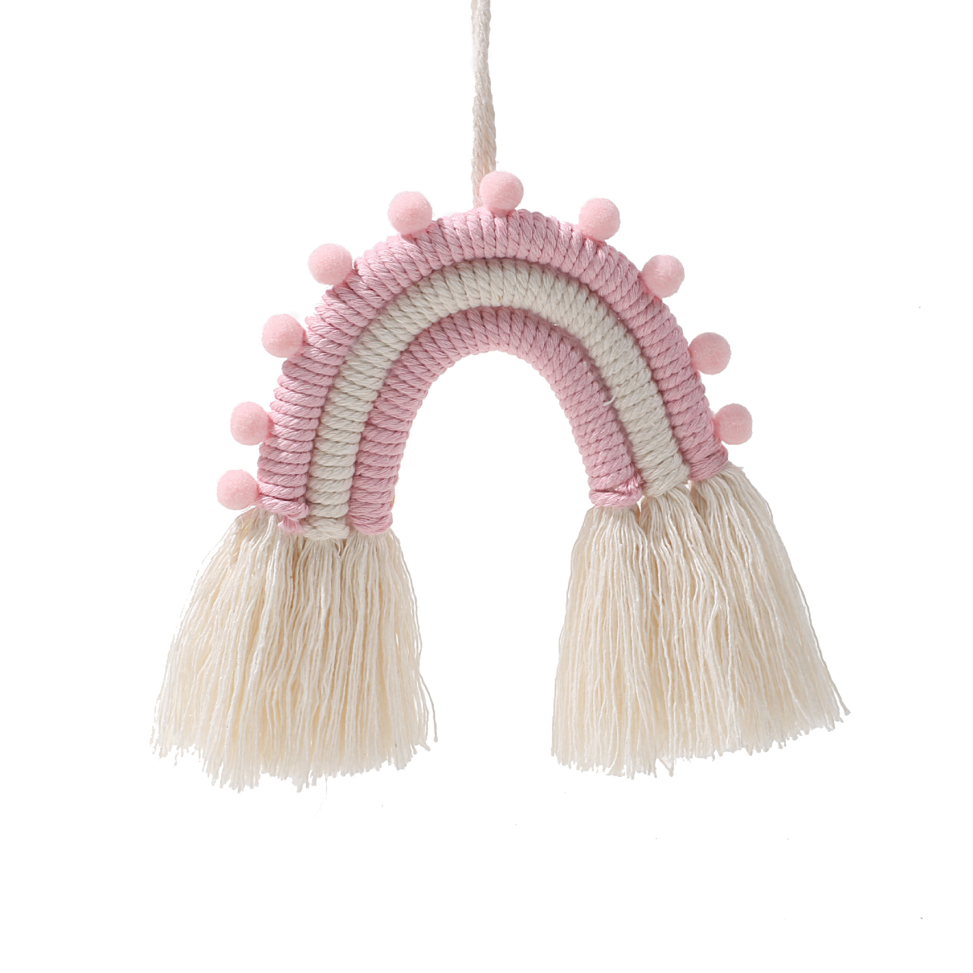 Rainbow Shape Tapestry With Tassel Cotton Rope Home Wall Decoration Craft Pink_m0290