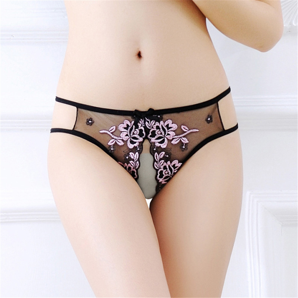 Women's Underpants  Transparent  See-through Lace  Sexy  Thong Pink