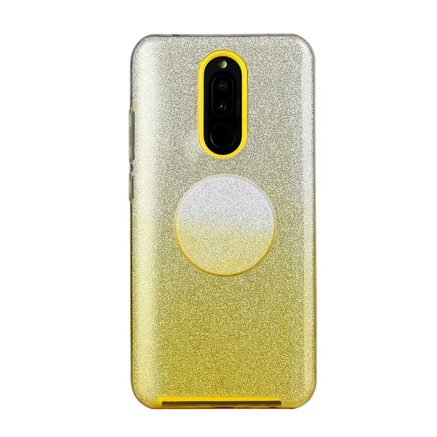 For OPPO F9/F9 Pro/A7X/F11 Pro/A8/A31 Phone Case Gradient Color Glitter Powder Phone Cover with Airbag Bracket yellow