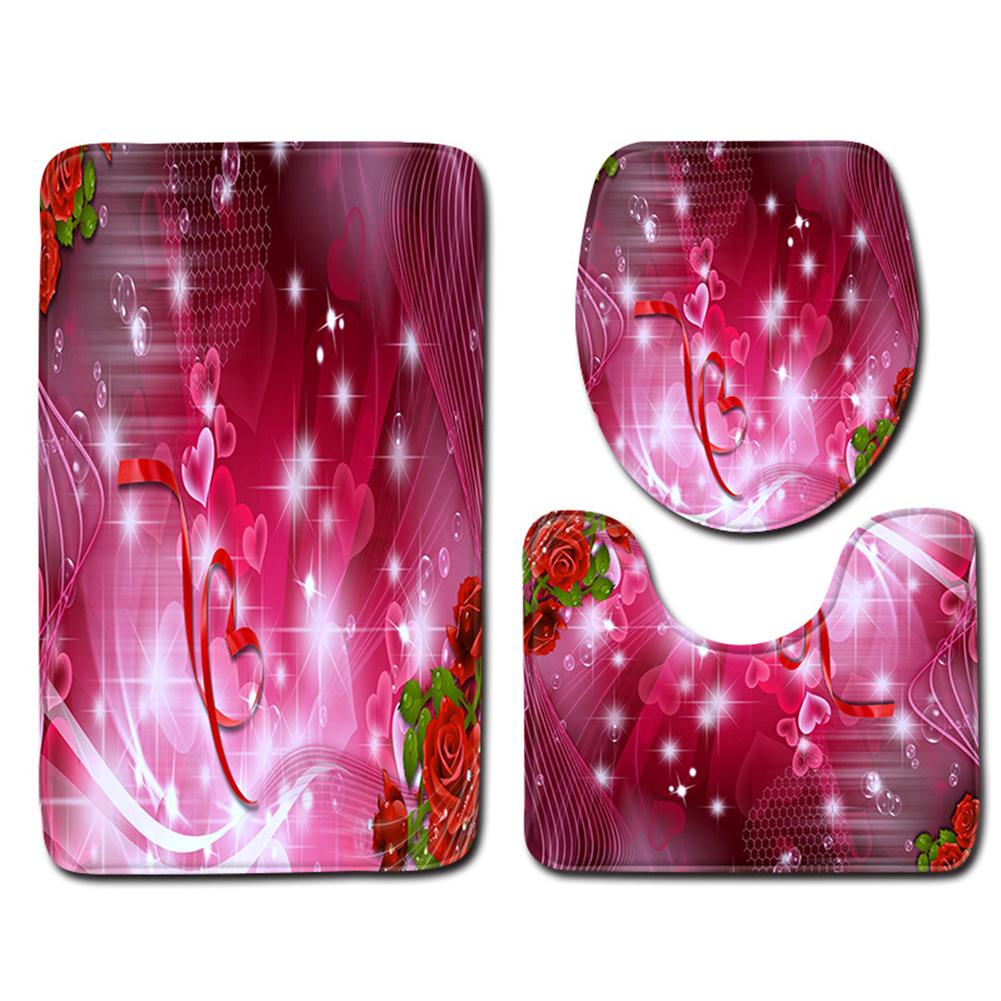 3pcs Bathroom  Rug Toilet  Contour  Mat Lid  Cover Non-slip Bath  Mat ddl0009_45cmx75cm