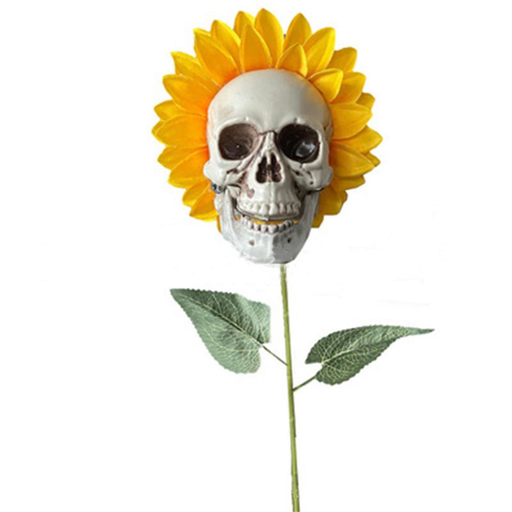 Halloween Skull  Sunflower Garden Decoration Household Decorative Ornament Type A