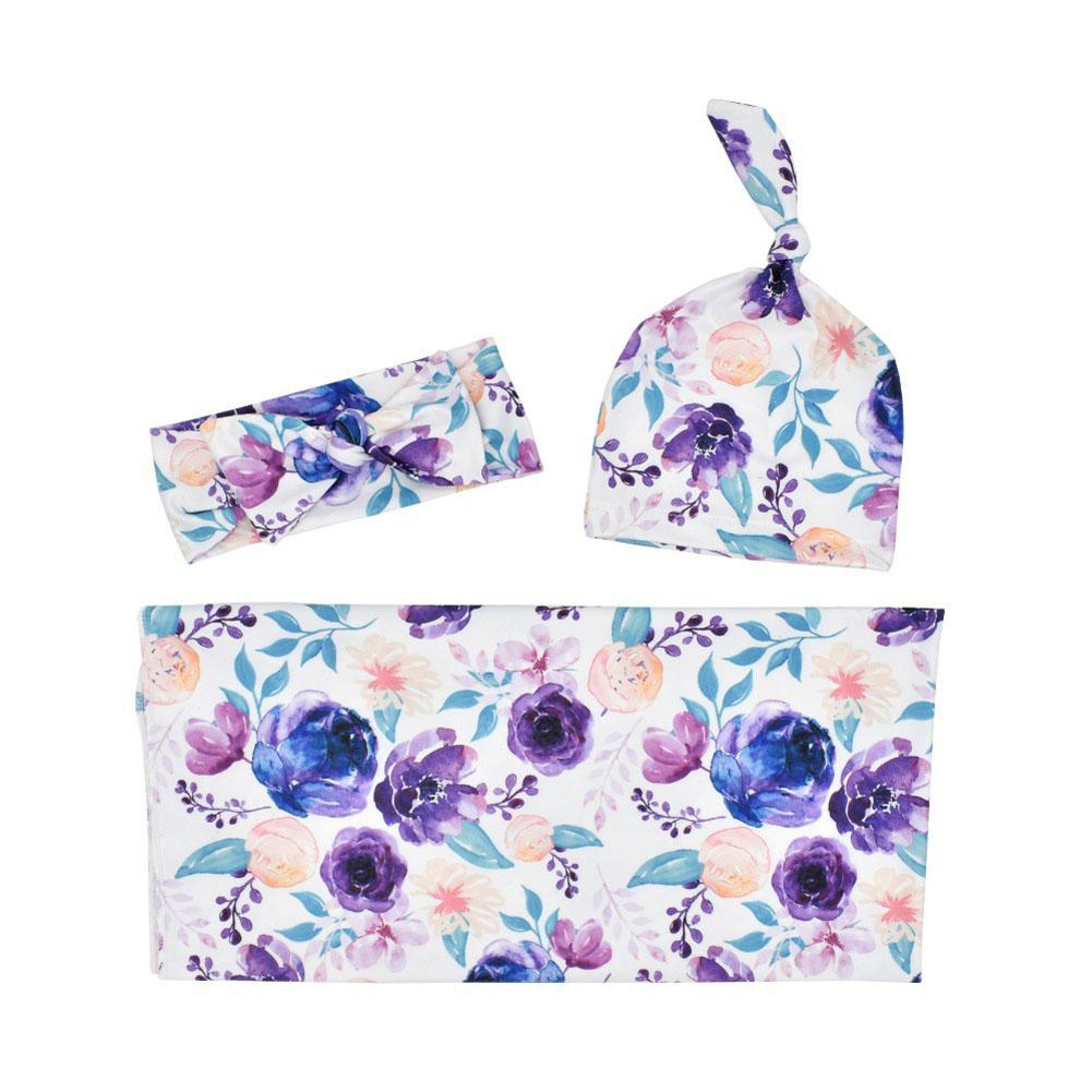 3Pcs/Set Newborn Printing Infant Swaddle Towel Cap Hair Band Set Purple flower_80*80
