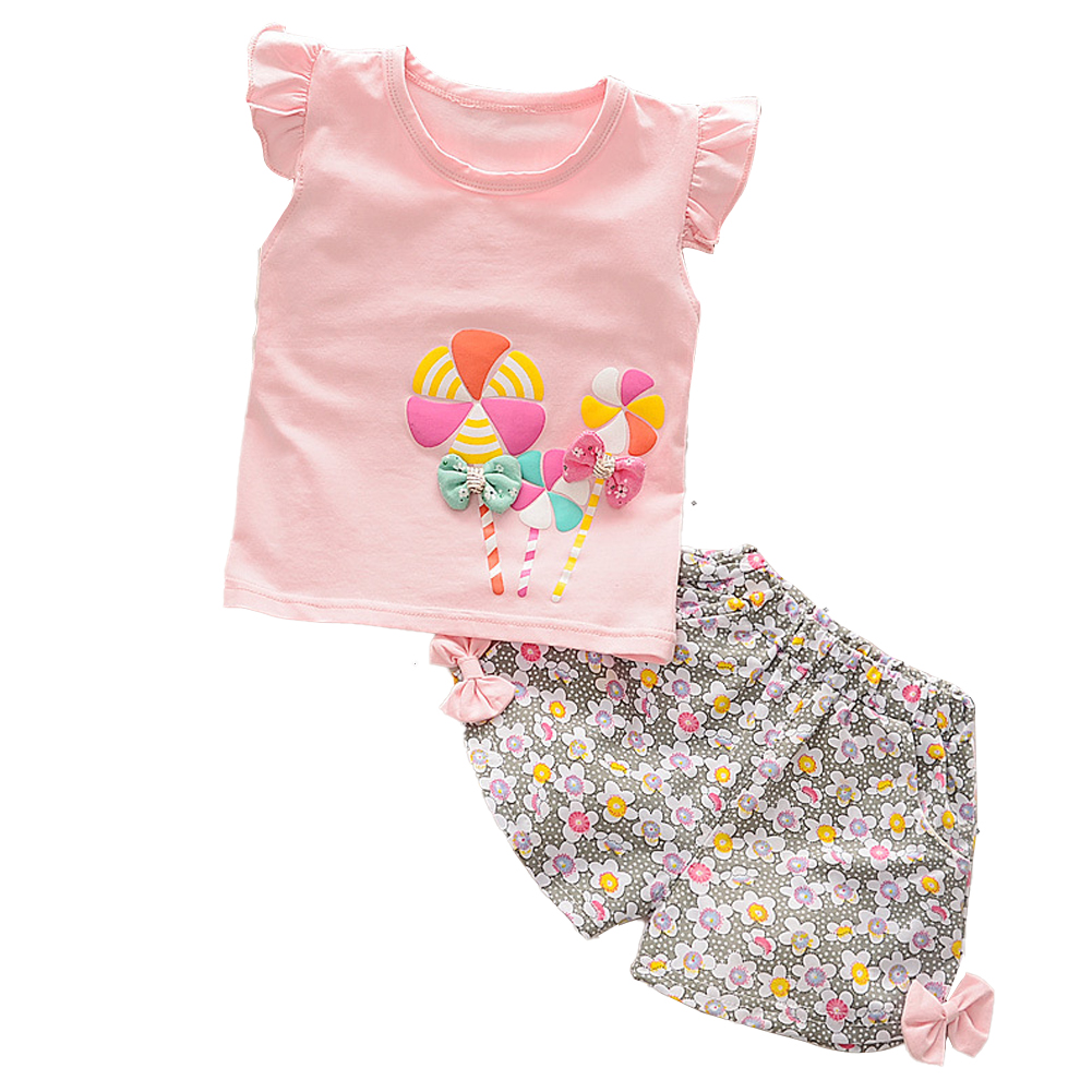 2 Pcs/set Girls Suit Cotton Windmill Printing Vest   Shorts for 0-3 Years Old Kids Pink_100cm