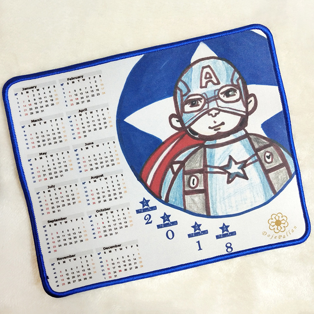 Personalized Rectangle Mouse Pad Cartoon Character Calendar Rubber Mousepad