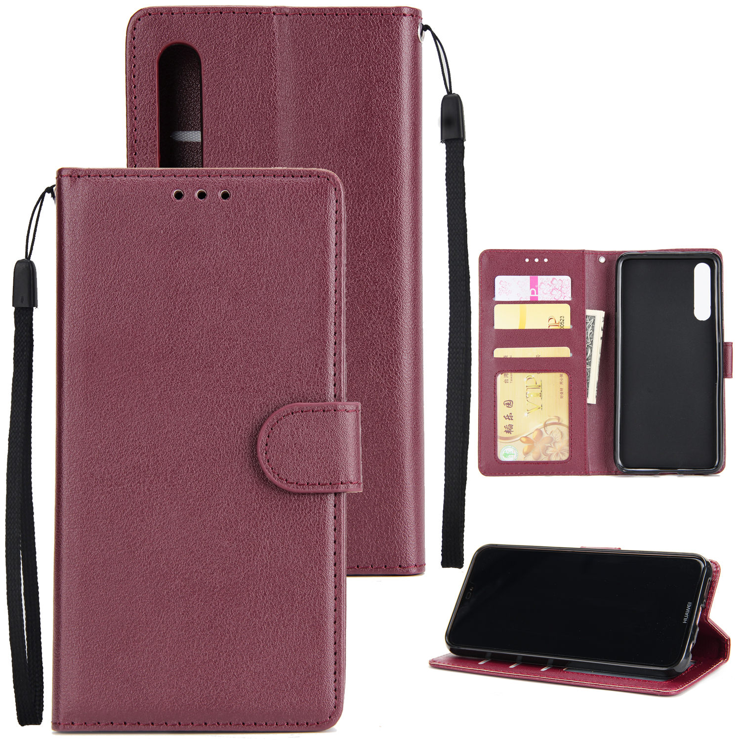Perfect Fit PU Leather Smart Phone Case Cover with Buckle for Huawei P20 wine Red