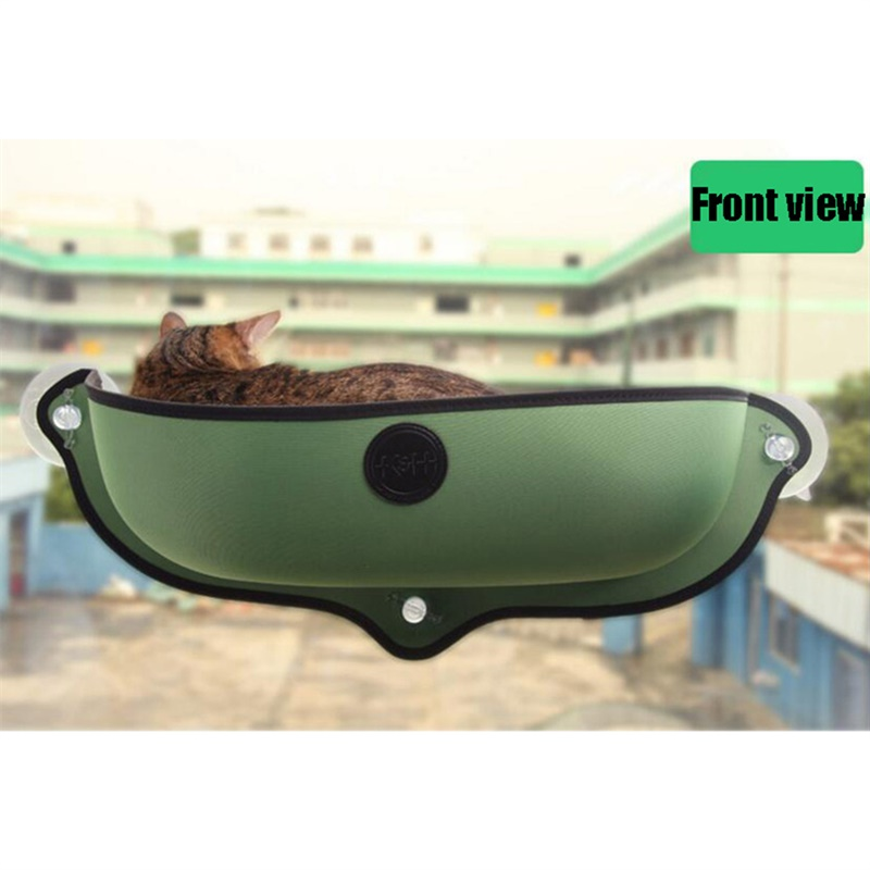 Pet Cat Window Hammock Strong Suction Cups Comfortable Warm Nest with Mat green