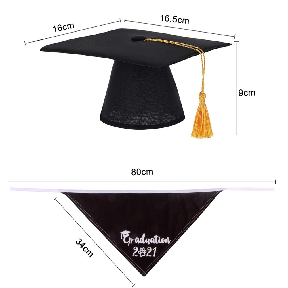 Small Dog Doctor  Hat With Dog Triangle Scarf Dog Hat Small Graduation Cap Pet Hat With Scarf Black 2021