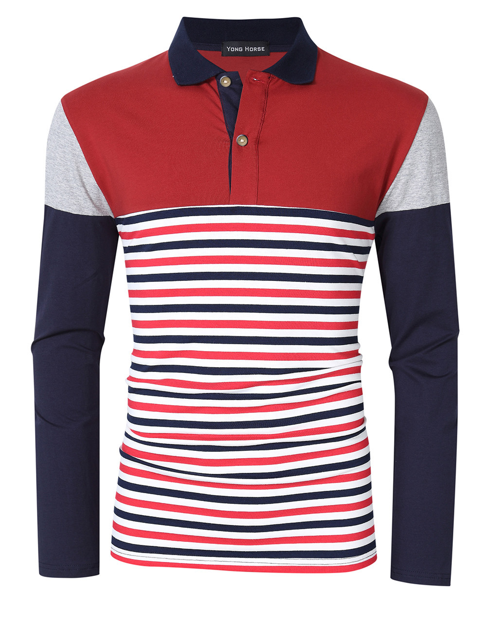 [US Direct] Yong Horse Men's Striped Color Block Slim Fit Long Sleeve Polo Shirt Red_2XL