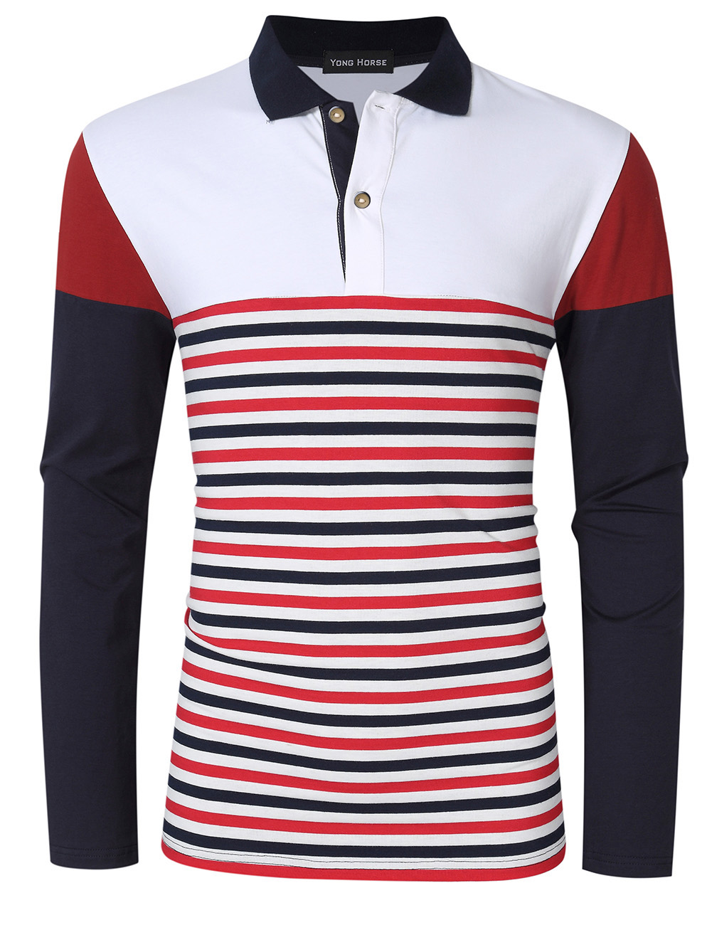 [US Direct] Yong Horse Men's Striped Color Block Slim Fit Long Sleeve Polo Shirt White_XL