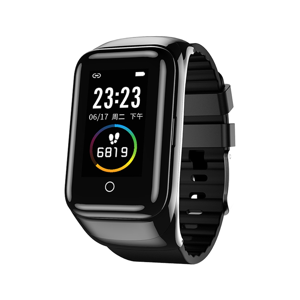 LEMFO M7 Smart Watch Color Screen Dual Bluetooth Earphone 2 in 1 Smart Band black