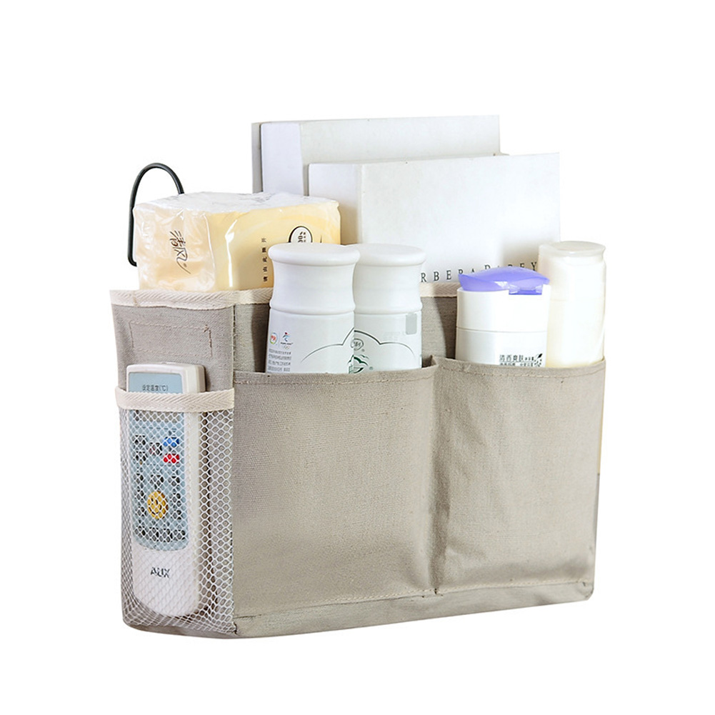 Bedside Hanging Bag Large Capacity 600D Oxford Cloth Storage Basket Pouch with Hook gray