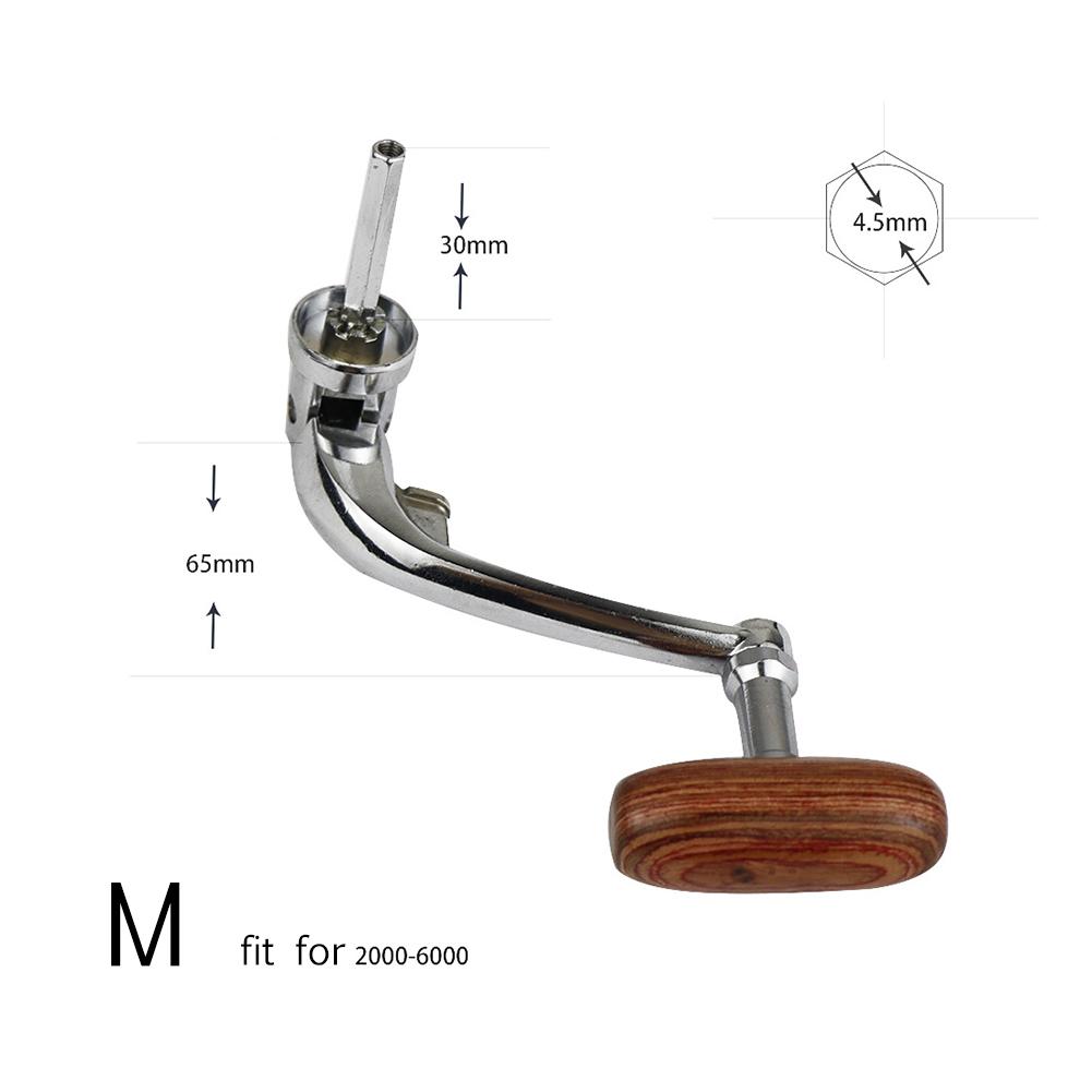 Universal Wood Handle Fishing Reels Crank Rock Arm Spinning Reel Grasp Handle Metal Folding Rocking Arm M
