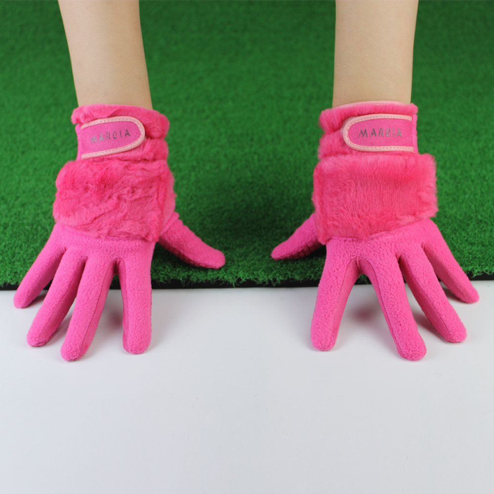 1 Pair Women Winter Golf Gloves Anti-slip Artificial Rabbit Fur Warmth Fit For Left and Right Hand Pink 18 size