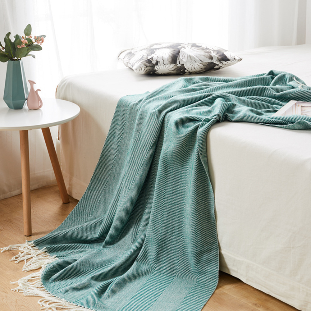 Handmade Weaving Wave Pattern Blanket with Tassels Home Beach Picnic Blanket Dark green