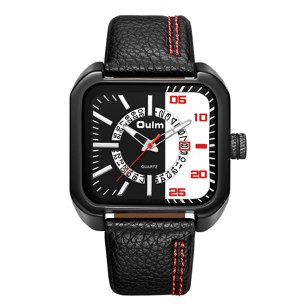 Oulm Men Unique Casual Business Watch - Red
