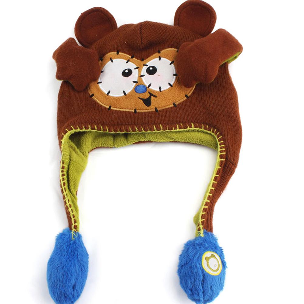Moving Ears Hat Infant Bomber Hat Sweet Cute Knitted Cartoon Wool Hat Brown monkey_OPP packaging
