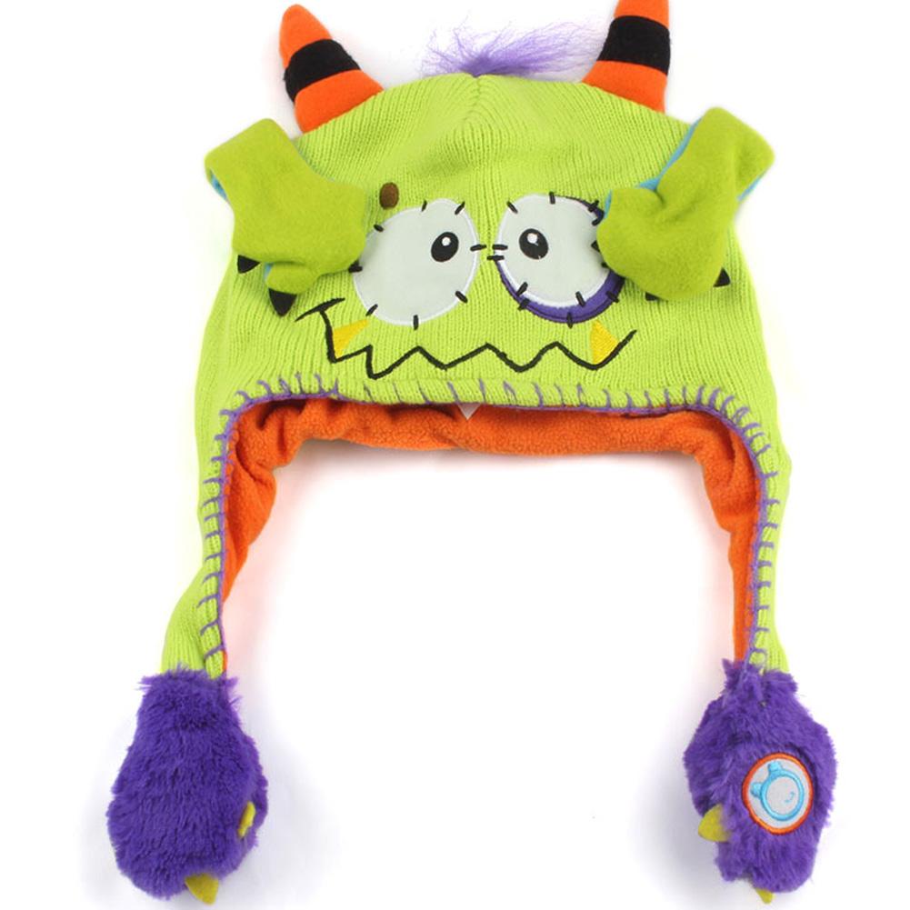 Moving Ears Hat Infant Bomber Hat Sweet Cute Knitted Cartoon Wool Hat Green devil_OPP packaging
