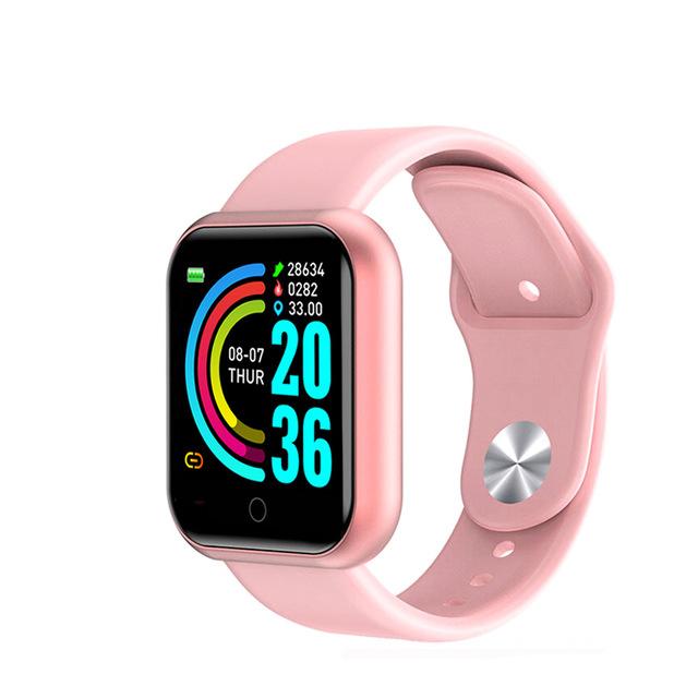 D20 Bluetooth Smart Watches Waterproof Sport Fitness Tracker Smart Bracelet Smartwatch Pink