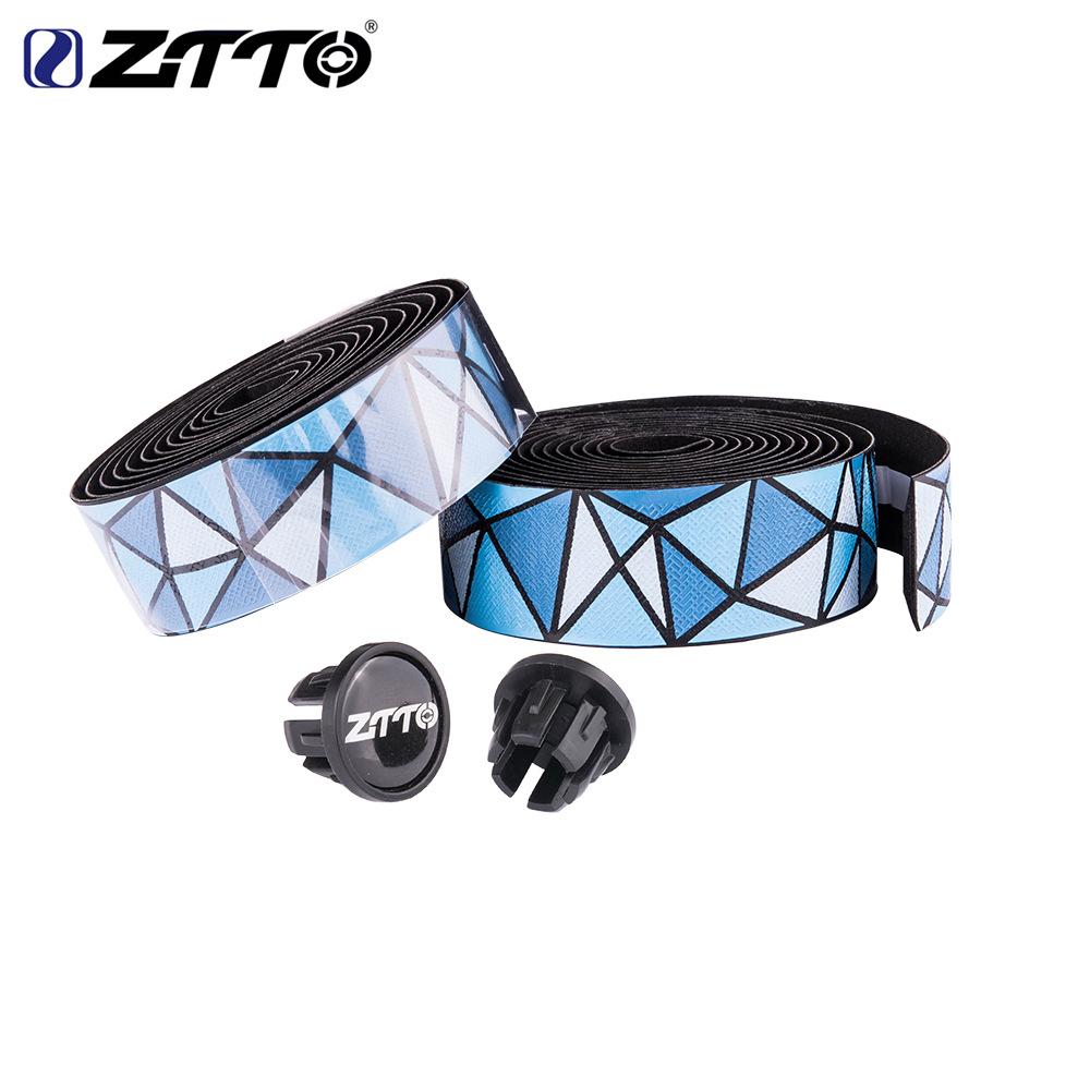 ZTTO Road Bike Bar Tape Handlebar EVA PU Tape Shock-Proof Roadbike High Toughness Bartape With Bar Plug Blue and white
