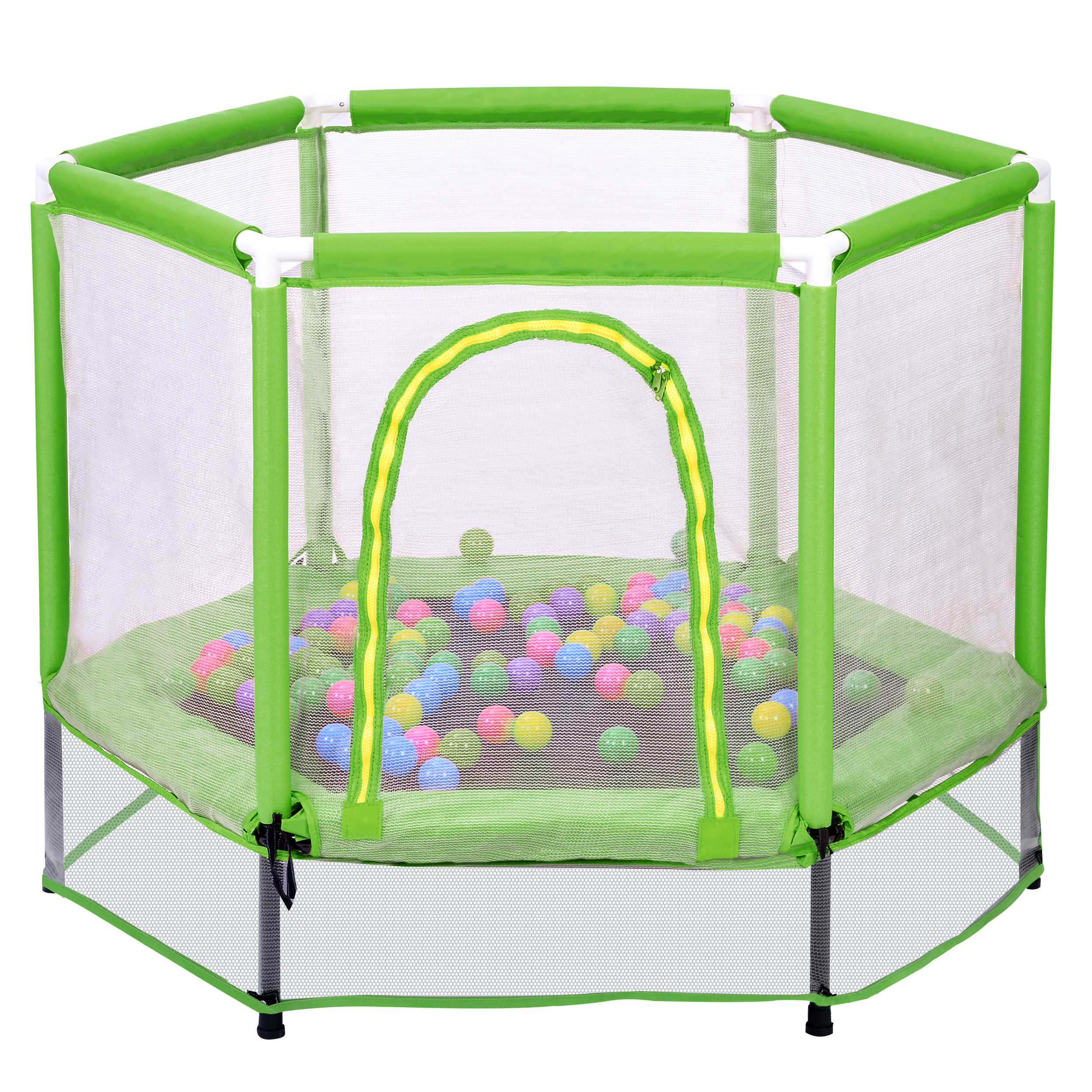 """[US Direct] 55"""" Toddlers Trampoline with Safety Enclosure Net and Balls, Indoor Outdoor Mini Trampoline for Kids"""