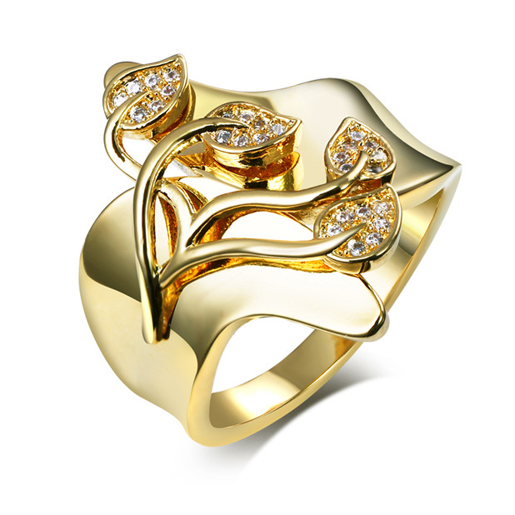 Women Fashion Creative Leaves Ring Simple Unique Rings Ornament Valentine's Day Gift