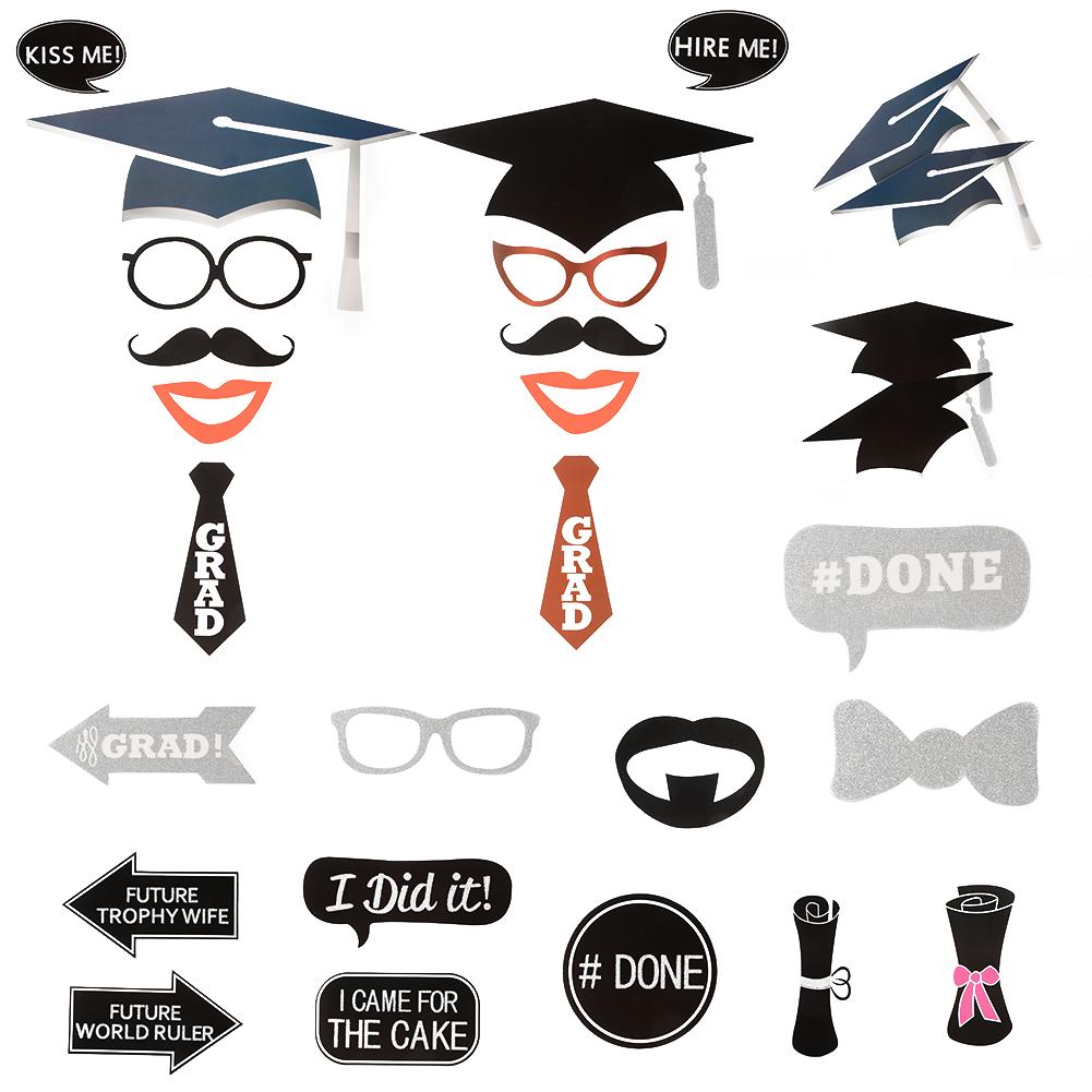 [US Direct] 24 Pcs DIY Creative Photo Booth Props Kit Graduation Party Decorations for Graduates