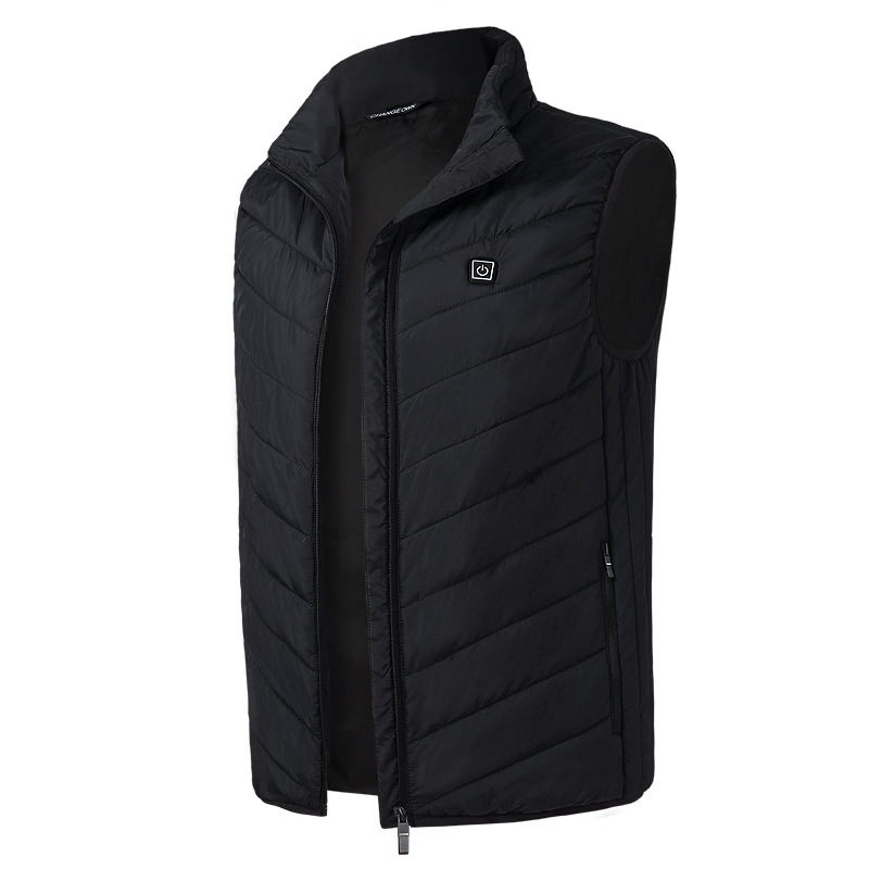 Electric Vest Heated Jacket USB Thermal Warm Heated Pad Winter Body Warmer black_S