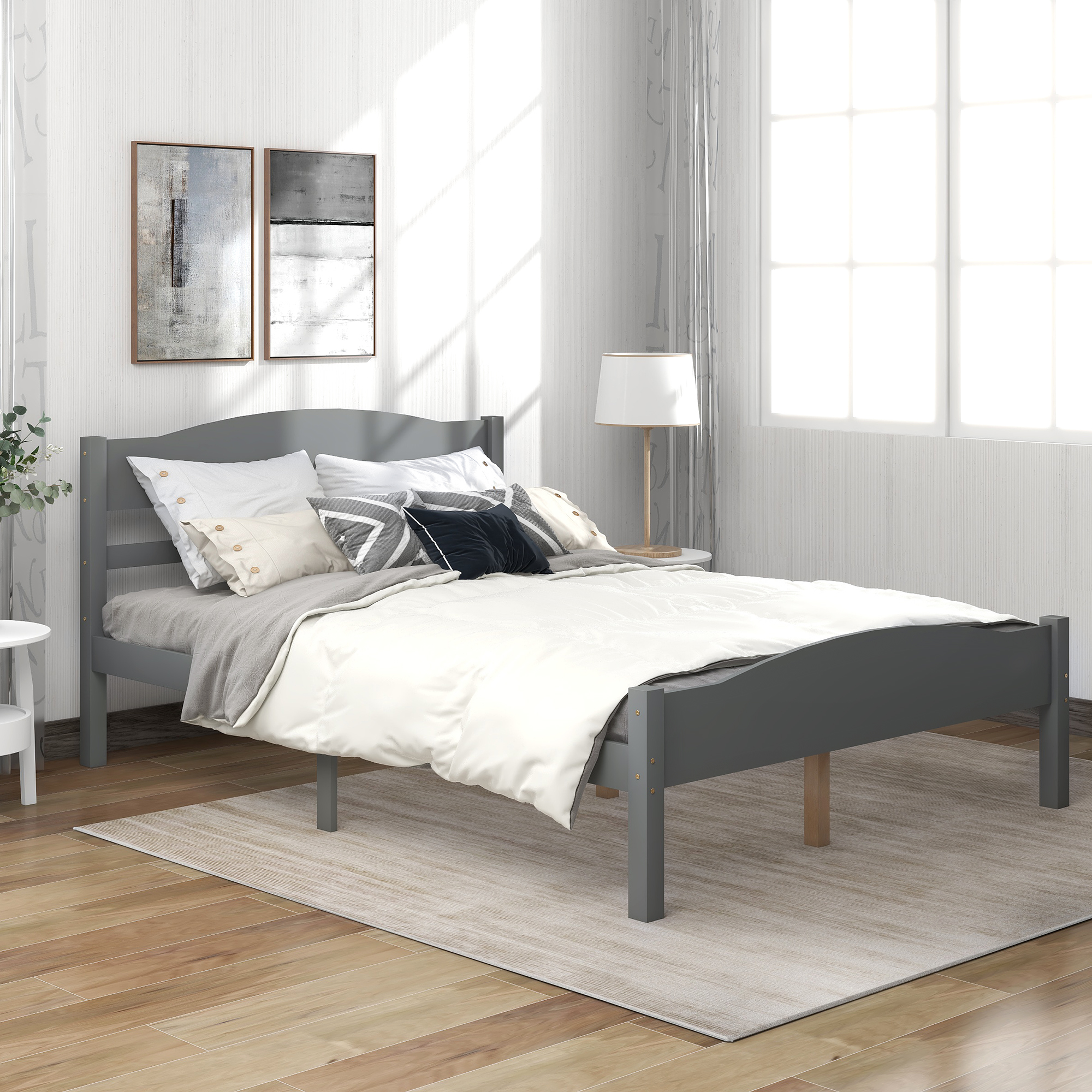 [US Direct] Platform Bed with Horizontal Strip Hollow Shape Headboard and Footboard and Center Support Feet, Twin size,Gray