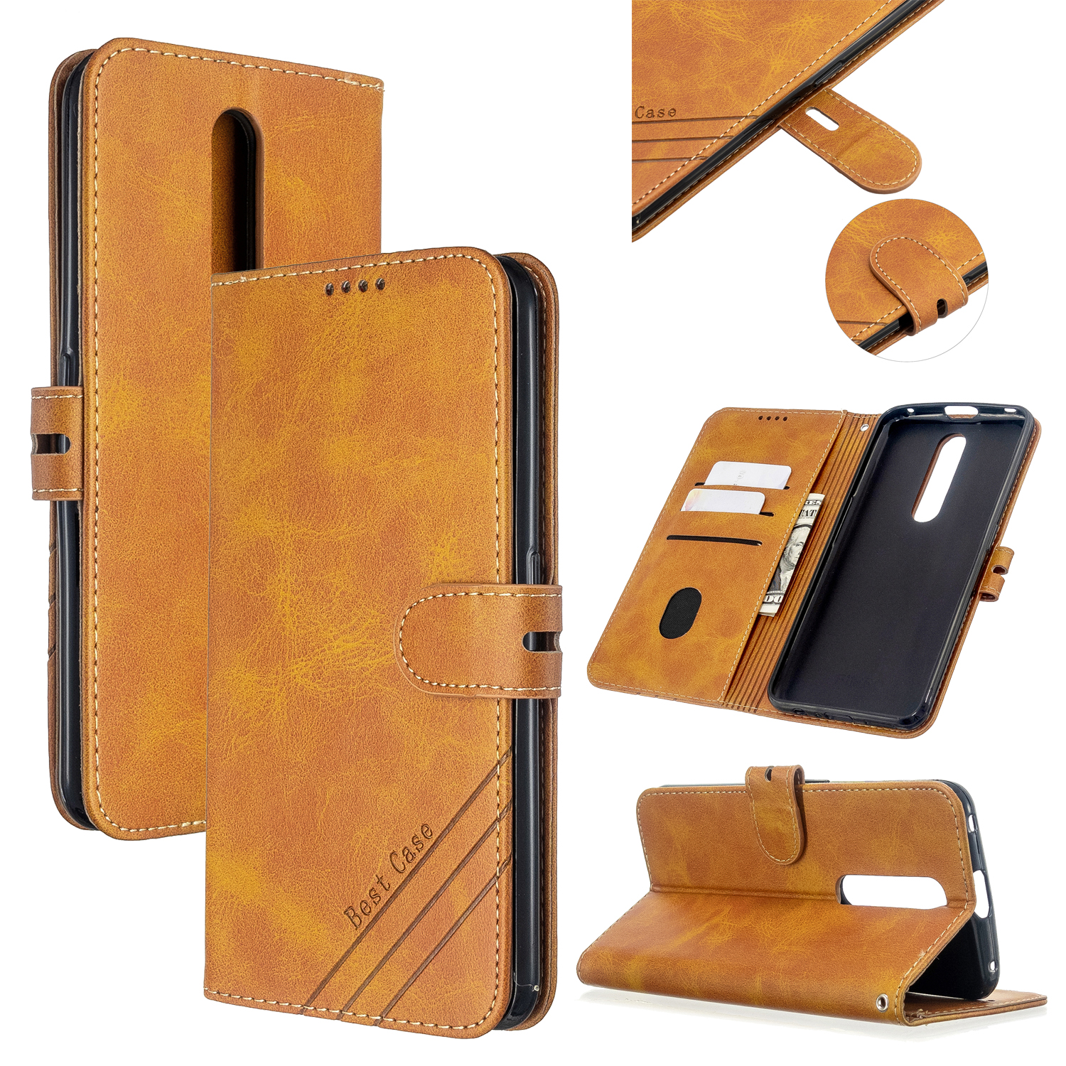 For OPPO F11/F11 Pro Case Soft Leather Cover with Denim Texture Precise Cutouts Wallet Design Buckle Closure Smartphone Shell  yellow