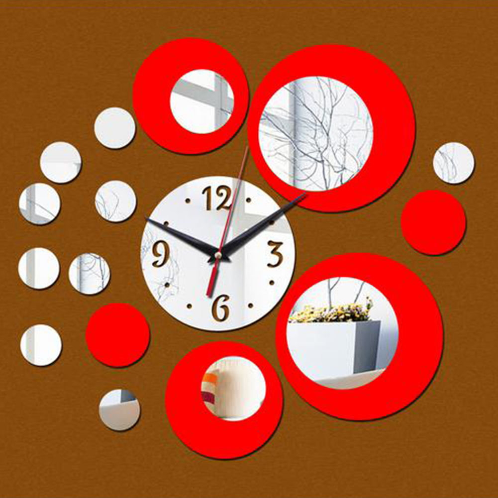 Creative Style Multi-circles Acrylic Round Wall Clock for Home Wall Decoration DIY Art Silver red