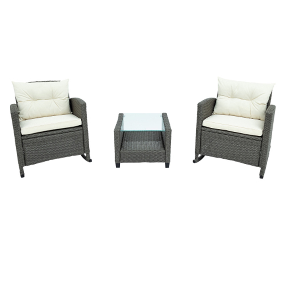 [US Direct] 3Pcs/Set Outdoor Patio Furniture  Set Coffee Table Chair With Cushion For Backyard Porch Beige