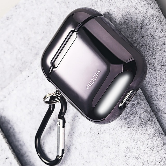 ROCK Electroplated Plated Hard Headphone Case for Apple Airpods Bluetooth Earphone Protective Case Shell for Airpods Case Cover black