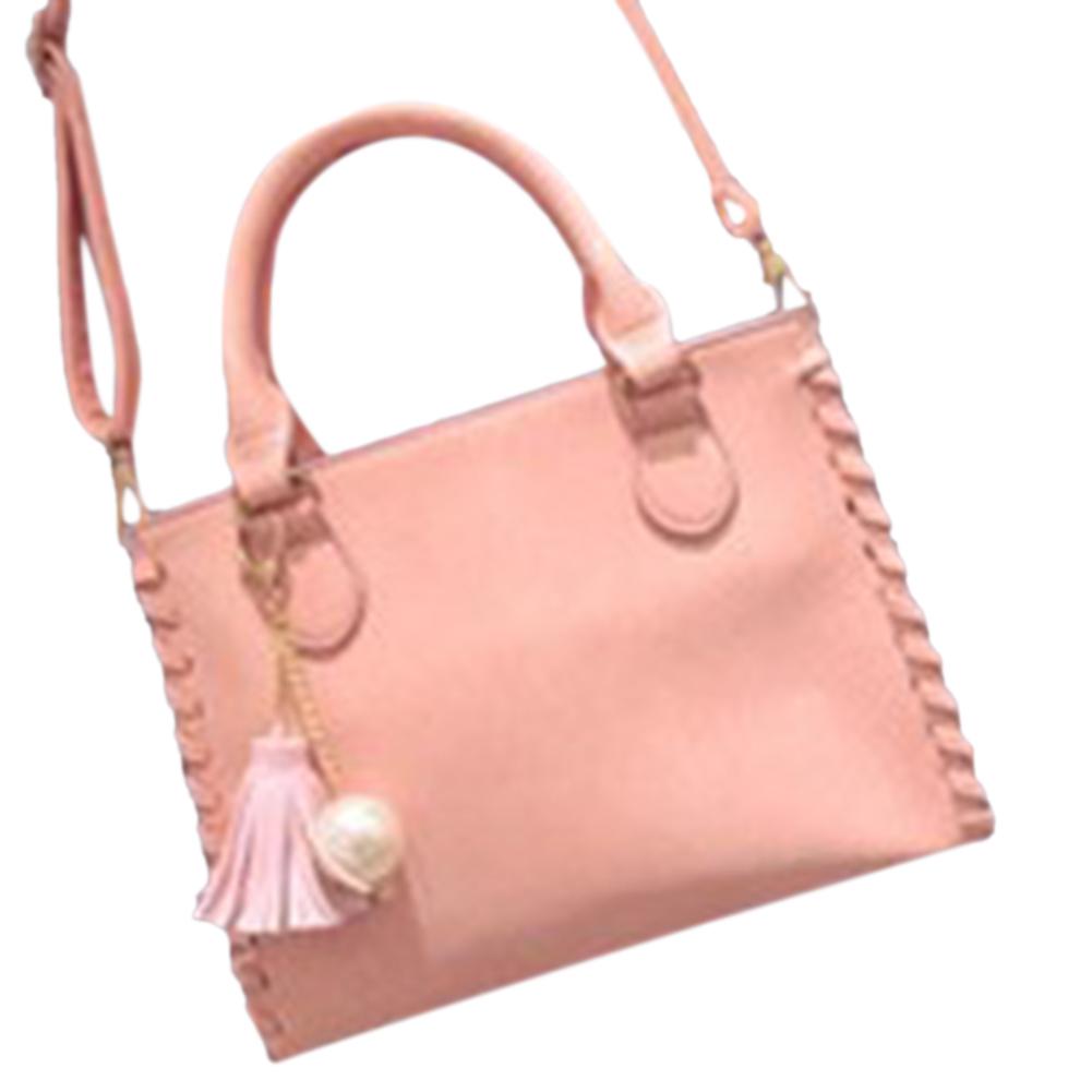 Women's Casual Handbag Solid Color PU Weave Edge Shoulder Bag with Tassel Pearl Pendant Ladies Tote Bag