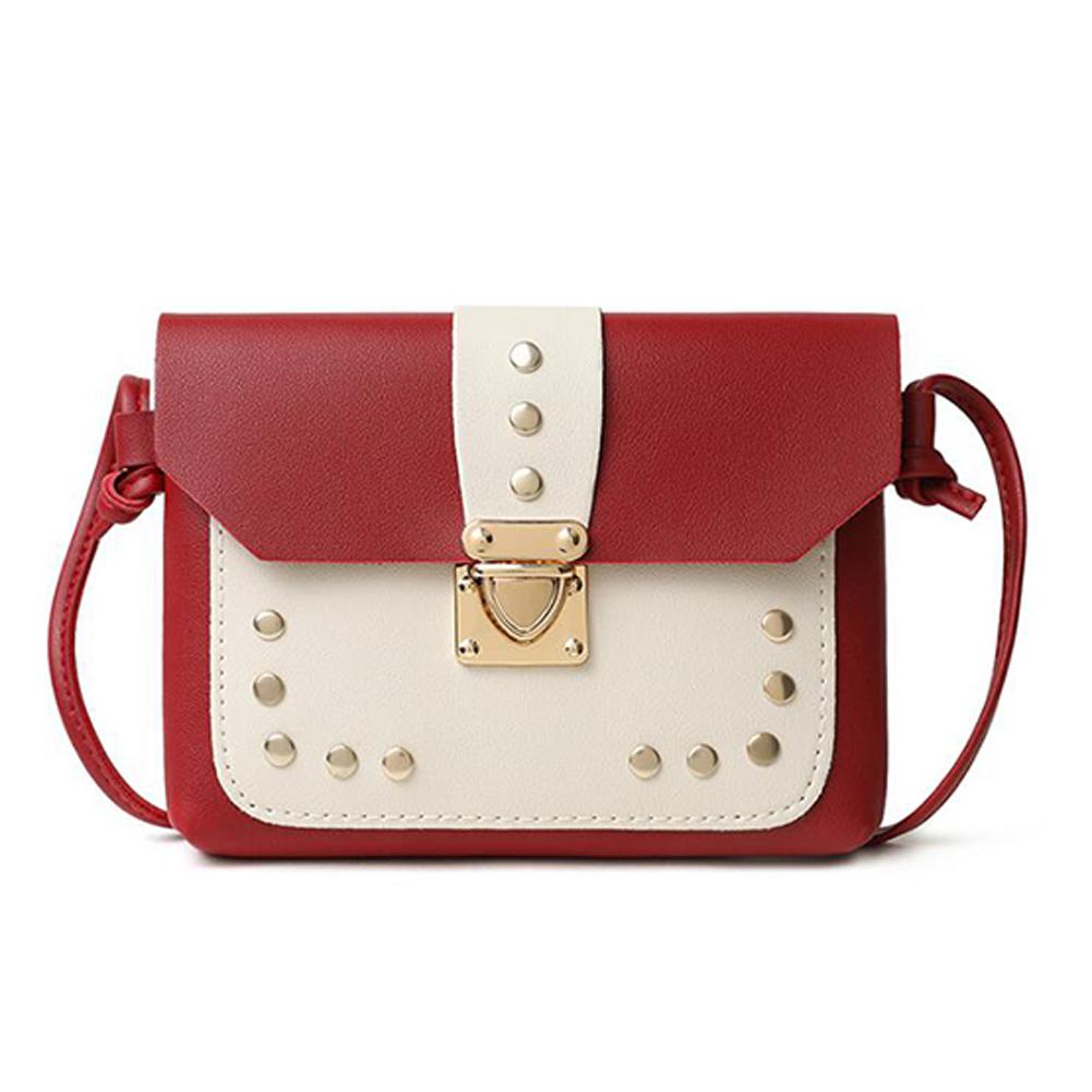 Women Small Satchel Rivet Metal Lock Buckle PU Leather Single Strap Cross-body Bag red