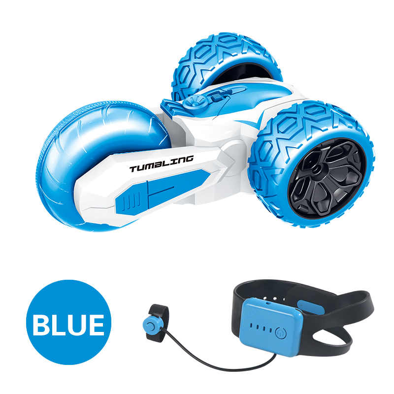 T11B 2.4G 3-wheels Rotating Stunt Car Wireless Watch Remote Control Rolling Car Model Children Electric Toy Gift blue