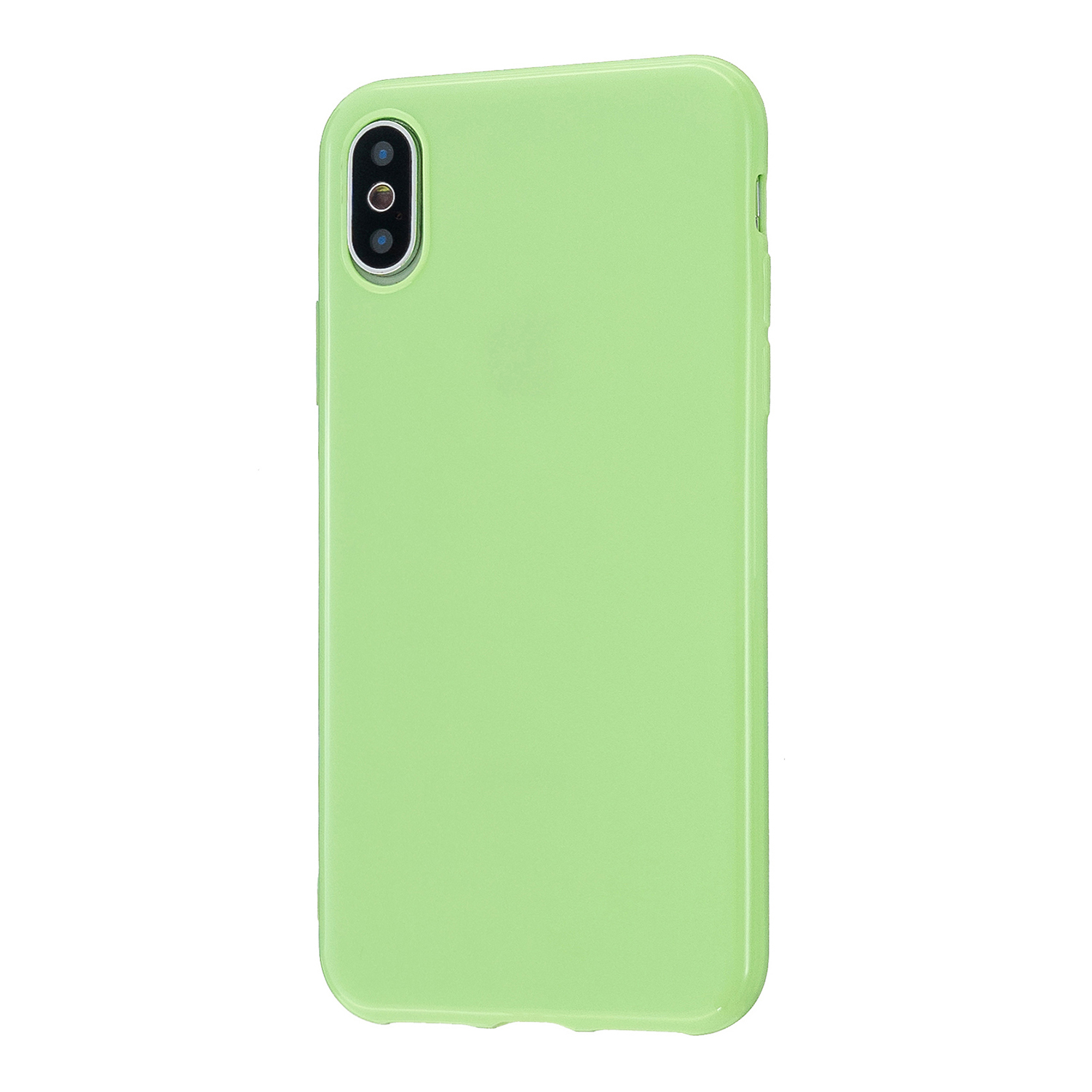For iPhone X/XS/XS Max/XR  Cellphone Cover Slim Fit Bumper Protective Case Glossy TPU Mobile Phone Shell Fluorescent green