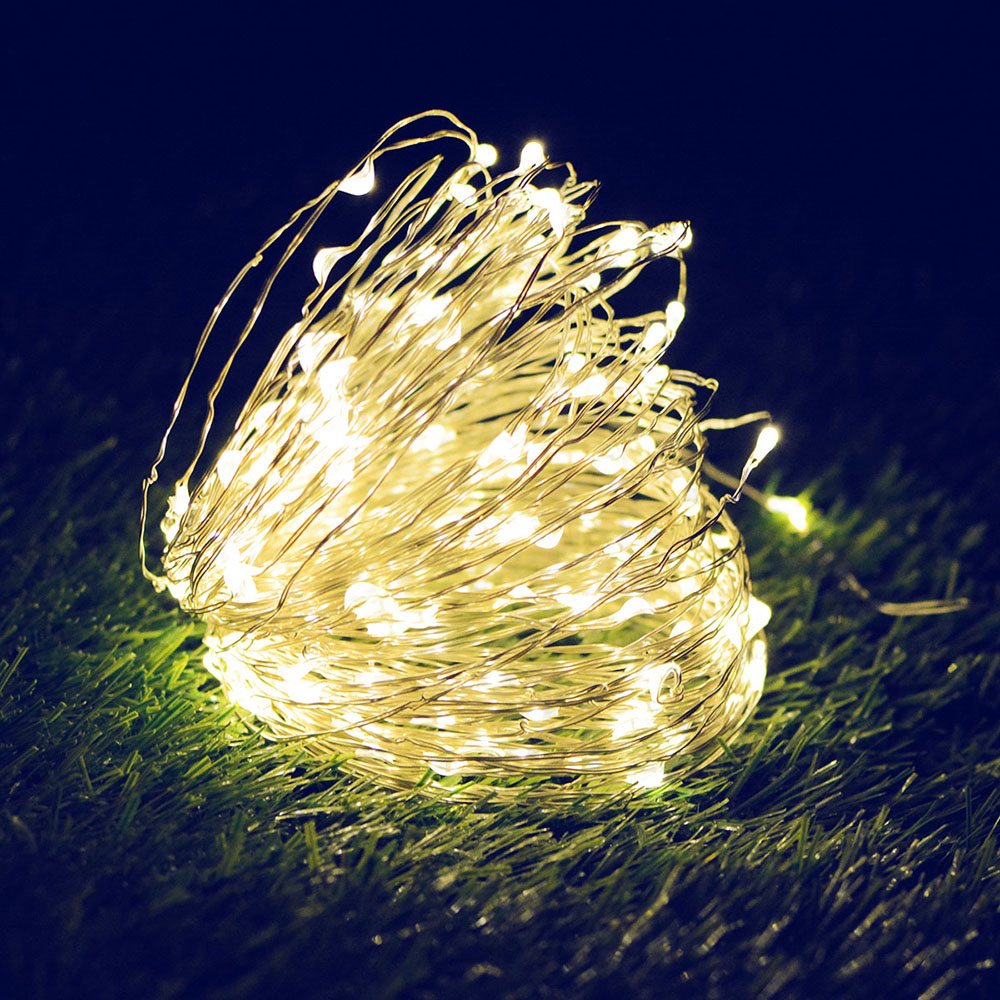 10M/20M 100LEDs/200LEDs Small Size Copper Wire Solar String Lights for Outdoor warm light_10 meters 100 LED_(ME0003302)