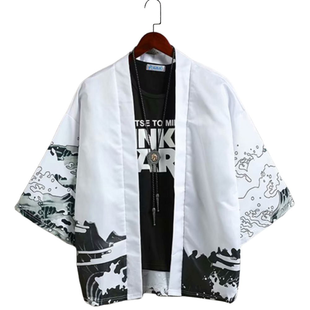 Men Casual Sunscreen Shirts Middle Sleeve Animal Pattern Tops white_L