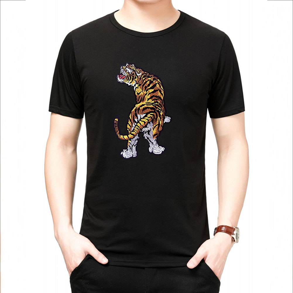 Men Women T Shirt Short Sleeve Tiger Printing Round Collar Tops for Youth Black_L