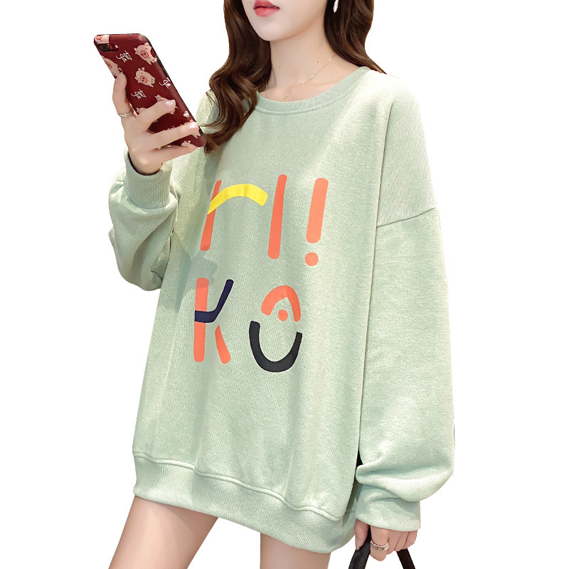 Women's Hoodie Spring and Autumn Thin Loose Pullover Long-sleeve  Hooded Sweater Green_L